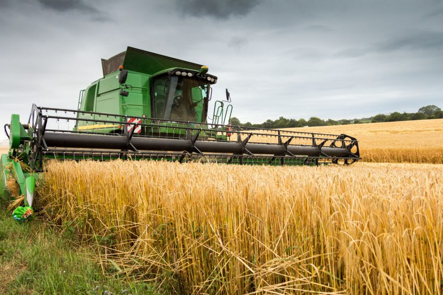 44933475 - combine harvester at work harvesting field of crop. harvest season themes and other agriculture